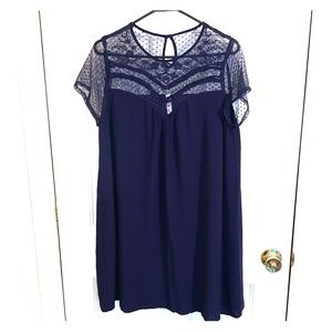 Navy lace top shift dress